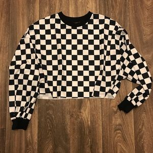 Shein cropped top checkered long sleeve